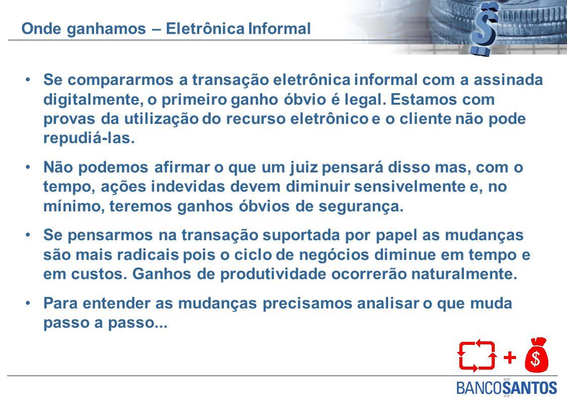 Se compararmos a transação eletrônica informal com a assinada digitalmente, o primeiro ganho óbvio é legal. Estamos com provas da utilização do recurs