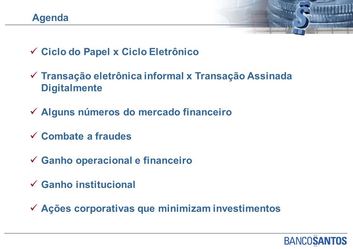 Agenda Ciclo do Papel x Ciclo Eletrônico Transação eletrônica informal x Transação Assinada Digitalmente Alguns números do mercado financeiro Combate