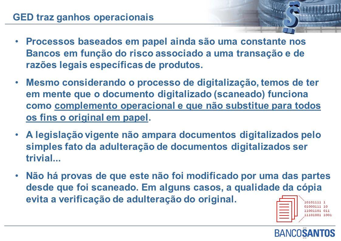 Processos baseados em papel ainda são uma constante nos Bancos em função do risco associado a uma transação e de razões legais específicas de produtos.