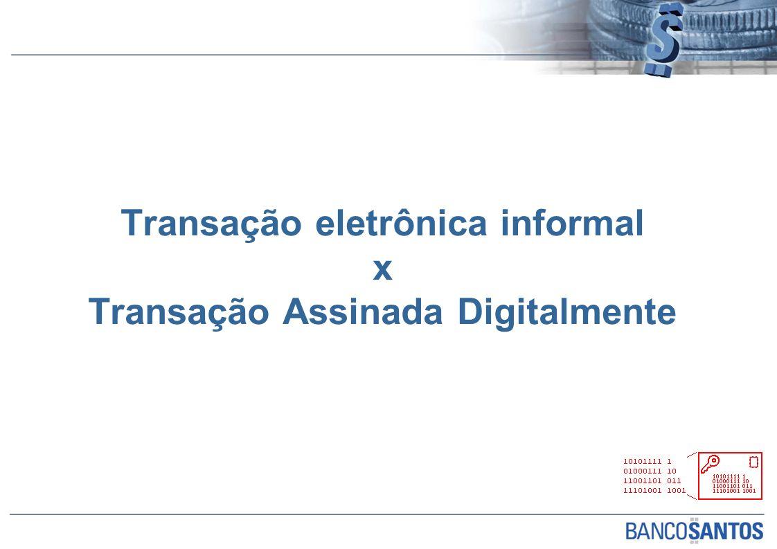 Transação eletrônica informal x Transação Assinada Digitalmente