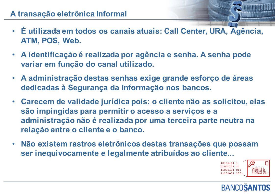 É utilizada em todos os canais atuais: Call Center, URA, Agência, ATM, POS, Web. A identificação é realizada por agência e senha. A senha pode variar