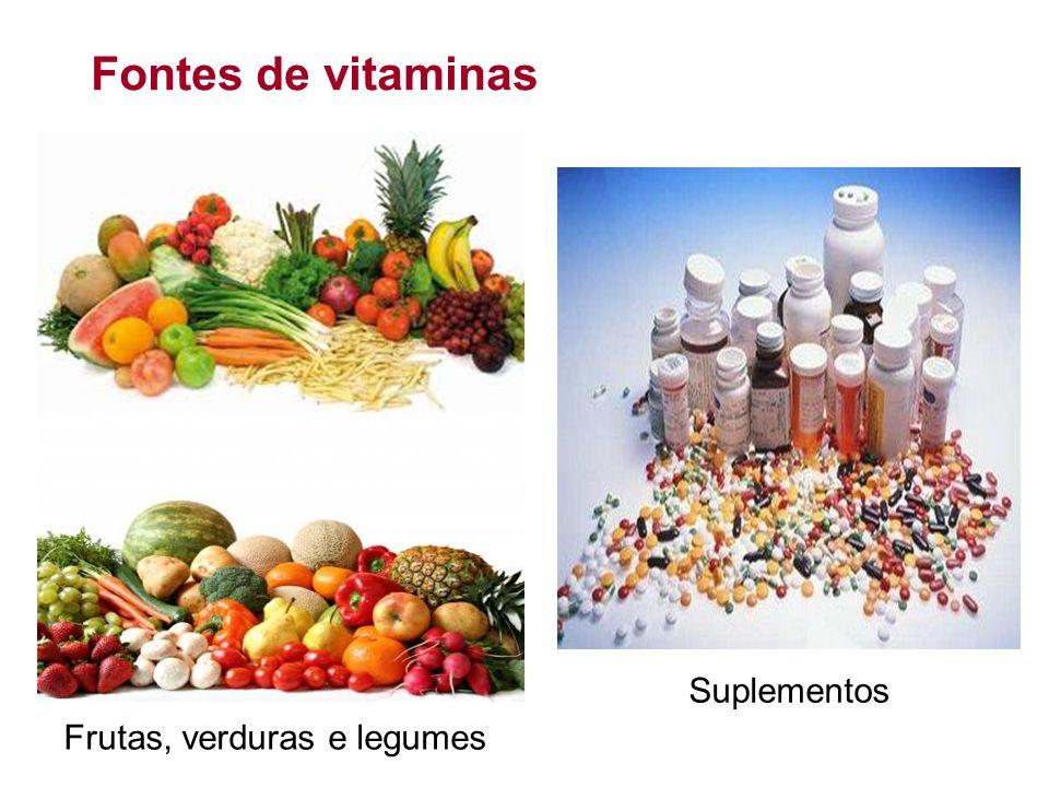 Fontes de vitaminas Frutas, verduras e legumes Suplementos