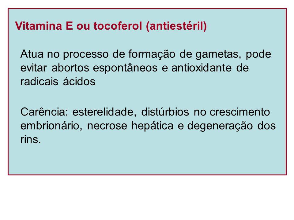 Vitamina E ou tocoferol (antiestéril) Atua no processo de formação de gametas, pode evitar abortos espontâneos e antioxidante de radicais ácidos Carên