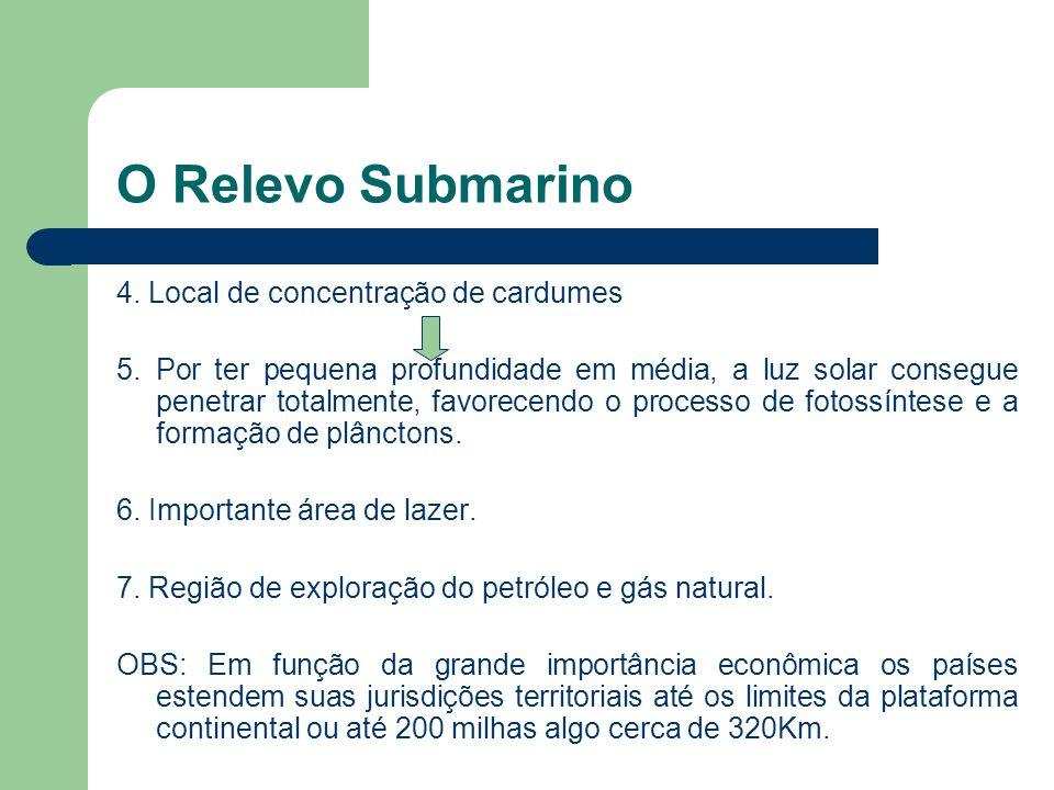 O Relevo Submarino Plataforma Continental 1. Profundidade entre 0 e 200m. 2. Corresponde ao prolongamento submerso dos continentes 3. Recebe sedimento