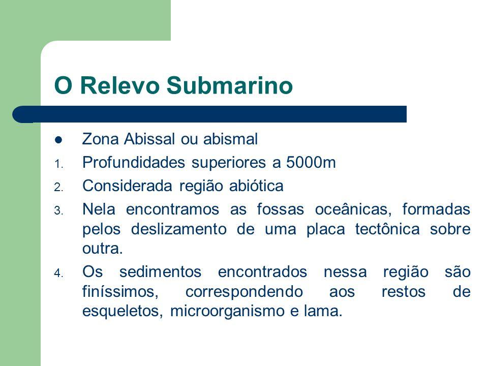 O Relevo Submarino Região Pelágica 1. Profundidade entre 2000 e 5000m. 2. Corresponde a cerca de 80% da área total dos oceanos 3. Considerada soalho d