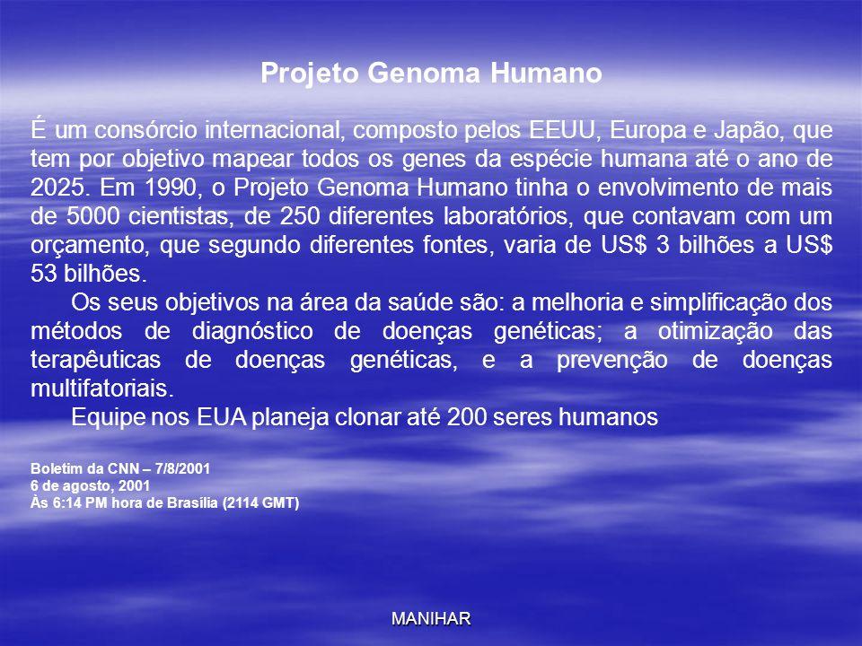 MANIHAR Projeto Genoma Humano É um consórcio internacional, composto pelos EEUU, Europa e Japão, que tem por objetivo mapear todos os genes da espécie