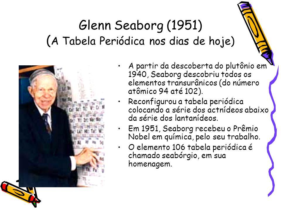 Glenn Seaborg (1951) ( A Tabela Periódica nos dias de hoje) A partir da descoberta do plutônio em 1940, Seaborg descobriu todos os elementos transurân