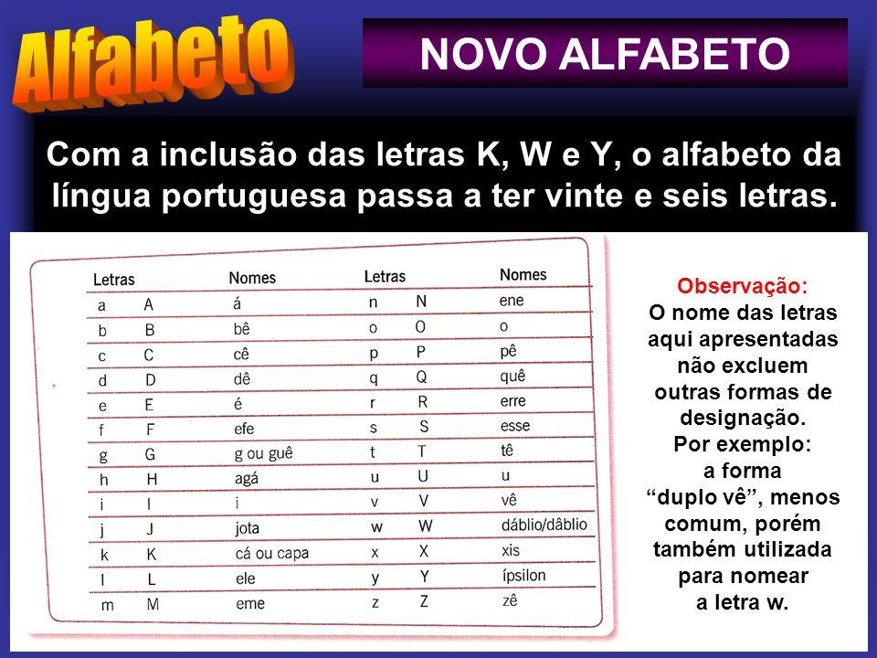 Com a inclusão das letras K, W e Y, o alfabeto da língua portuguesa passa a ter vinte e seis letras. NOVO ALFABETO Observação: O nome das letras aqui