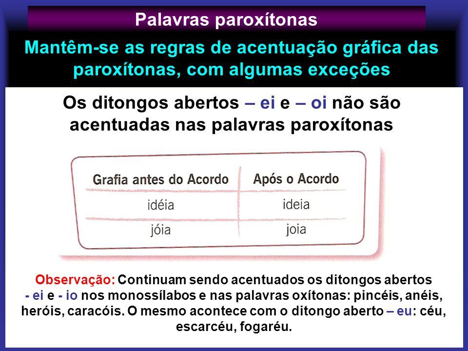 Mantêm-se as regras de acentuação gráfica das paroxítonas, com algumas exceções Palavras paroxítonas Observação: Continuam sendo acentuados os ditongo