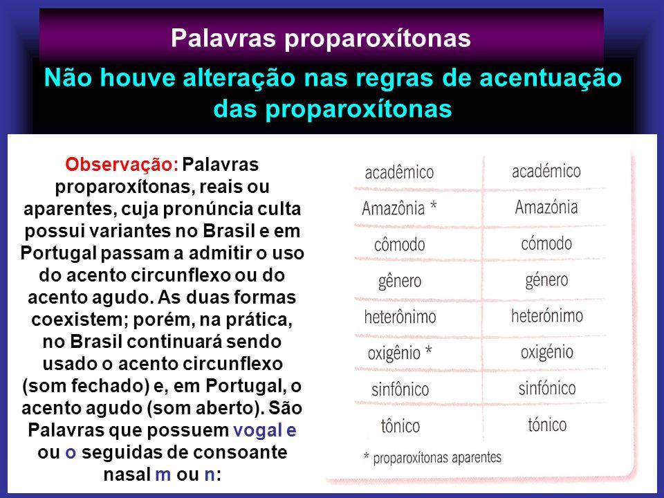 Palavras proparoxítonas Observação: Palavras proparoxítonas, reais ou aparentes, cuja pronúncia culta possui variantes no Brasil e em Portugal passam