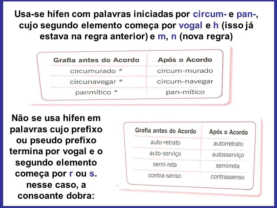 Usa-se hífen com palavras iniciadas por circum- e pan-, cujo segundo elemento começa por vogal e h (isso já estava na regra anterior) e m, n (nova reg