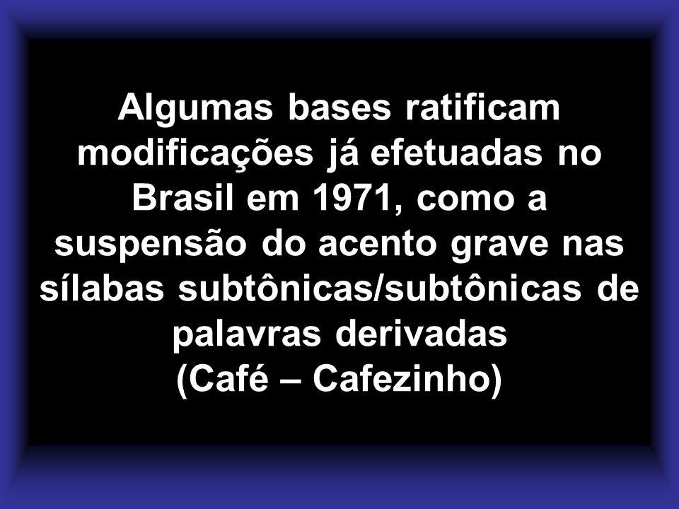 Algumas bases ratificam modificações já efetuadas no Brasil em 1971, como a suspensão do acento grave nas sílabas subtônicas/subtônicas de palavras de