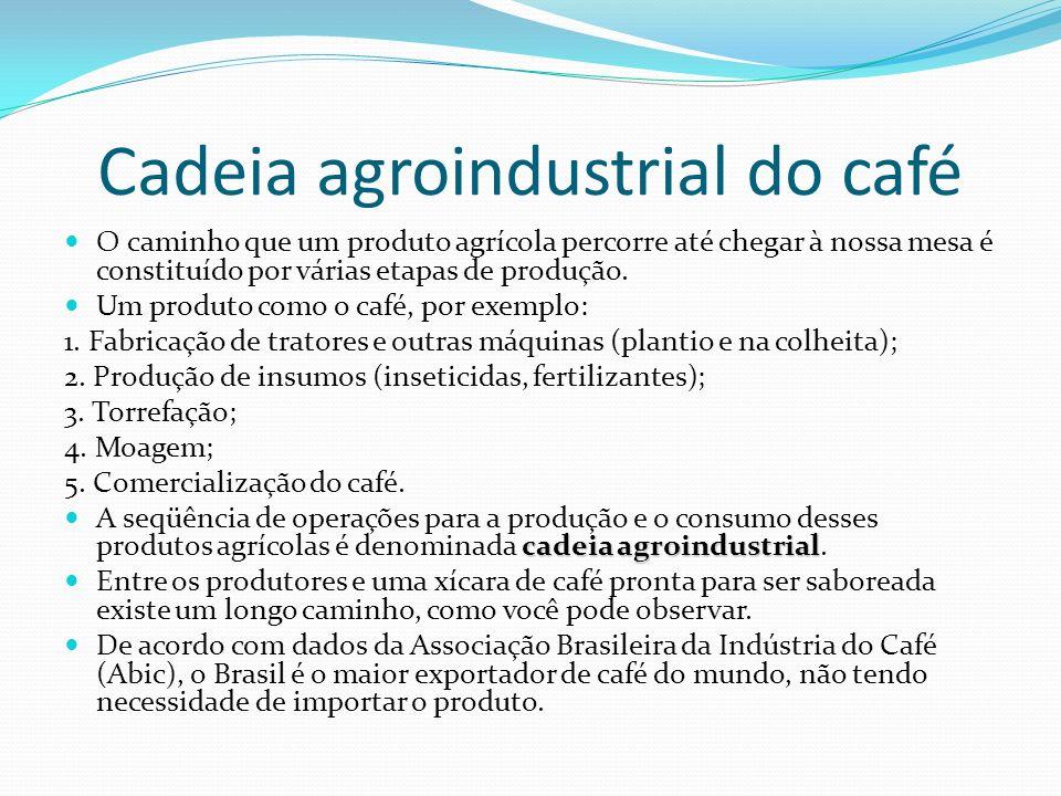 Cadeia agroindustrial do café O caminho que um produto agrícola percorre até chegar à nossa mesa é constituído por várias etapas de produção. Um produ