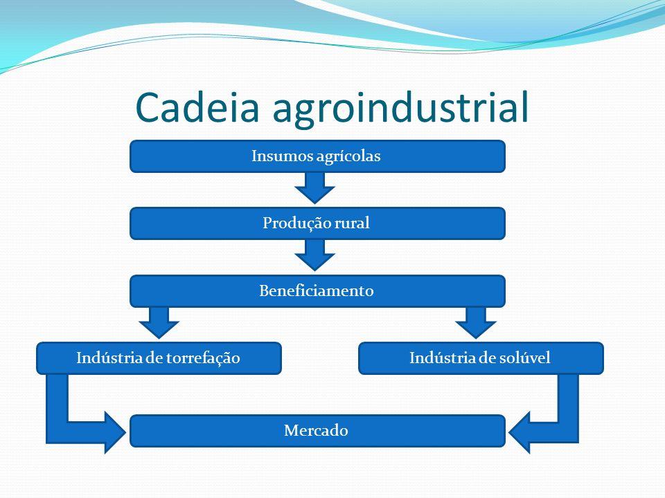 Cadeia agroindustrial Insumos agrícolas Mercado Beneficiamento Indústria de solúvelIndústria de torrefação Produção rural