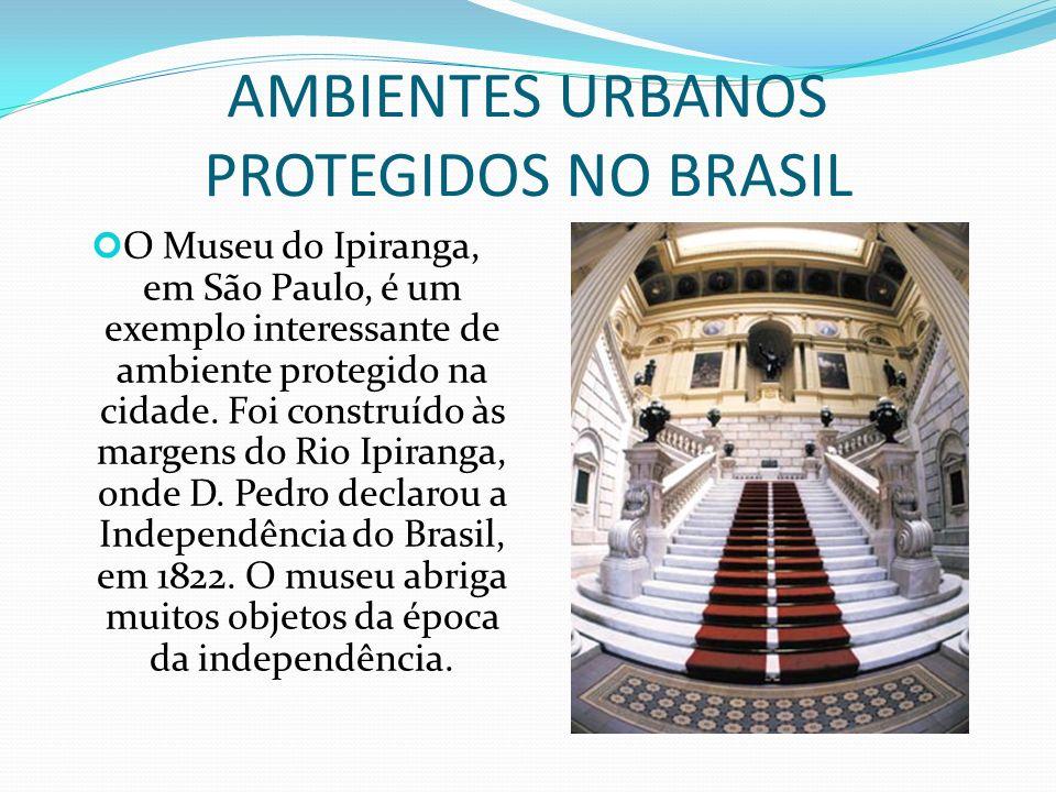 AMBIENTES PROTEGIDOS NA CIDADE patrimônio cultural Nas cidades também encontramos ambientes protegidos. Um parque, uma praça e mesmo uma casa podem se