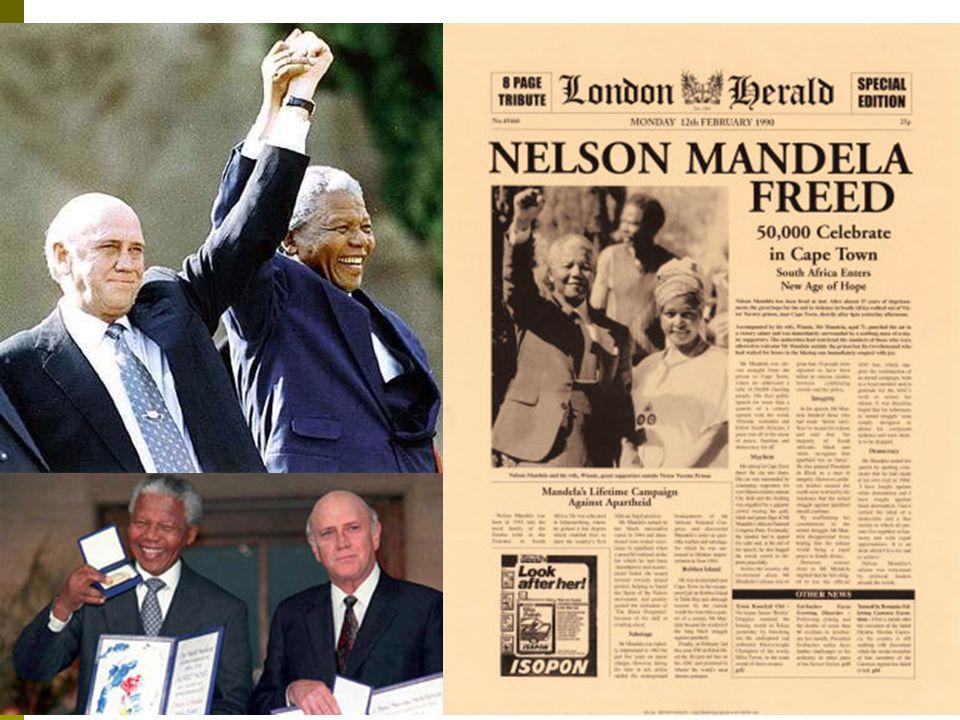 Os caminhos do fim do regime Anos 80: aumenta a pressão internacional para a libertação de Mandela; 1989: Frederic. W. de Klerk, assumiu a presidência