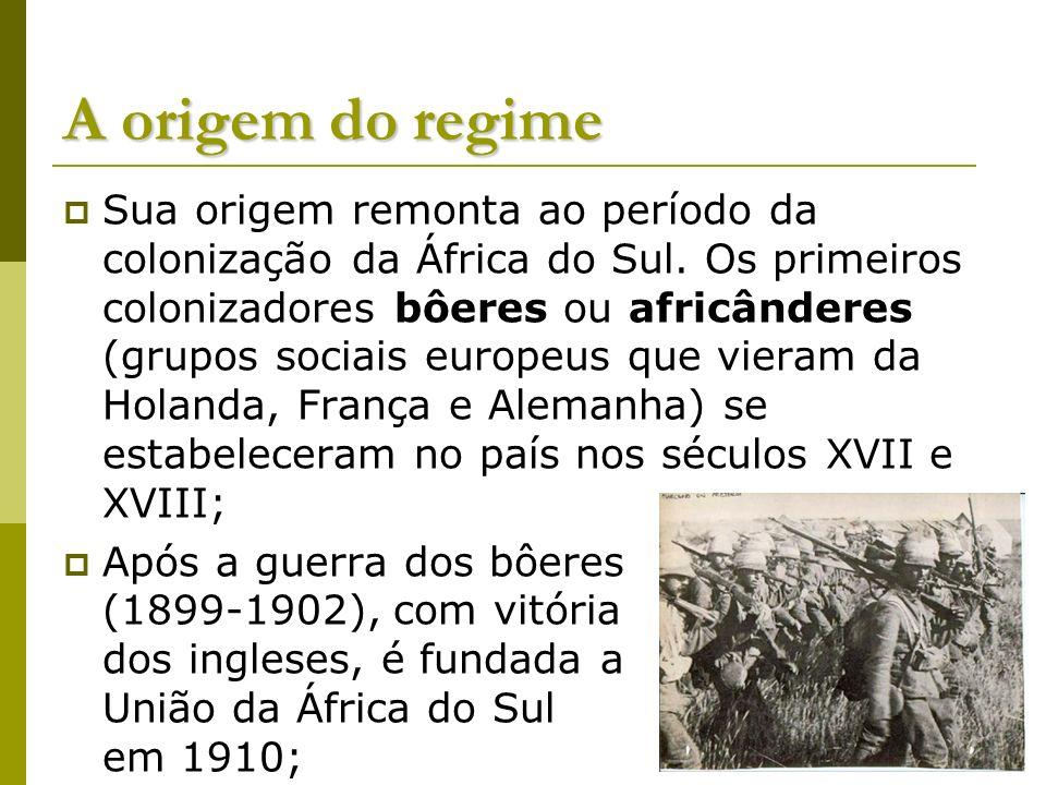 A origem do regime Sua origem remonta ao período da colonização da África do Sul. Os primeiros colonizadores bôeres ou africânderes (grupos sociais eu