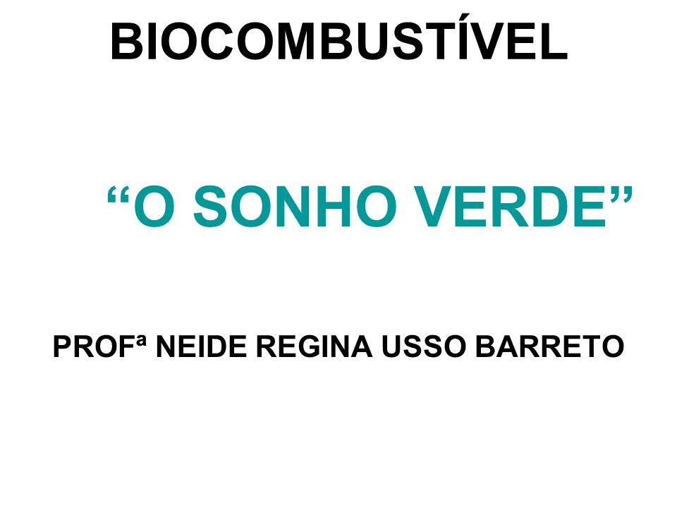 BIOCOMBUSTÍVEL O SONHO VERDE PROFª NEIDE REGINA USSO BARRETO