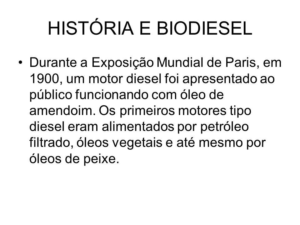 HISTÓRIA E BIODIESEL Durante a Exposição Mundial de Paris, em 1900, um motor diesel foi apresentado ao público funcionando com óleo de amendoim. Os pr
