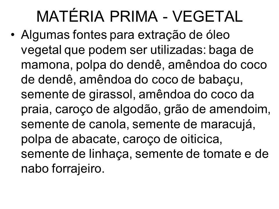 MATÉRIA PRIMA - VEGETAL Algumas fontes para extração de óleo vegetal que podem ser utilizadas: baga de mamona, polpa do dendê, amêndoa do coco de dend