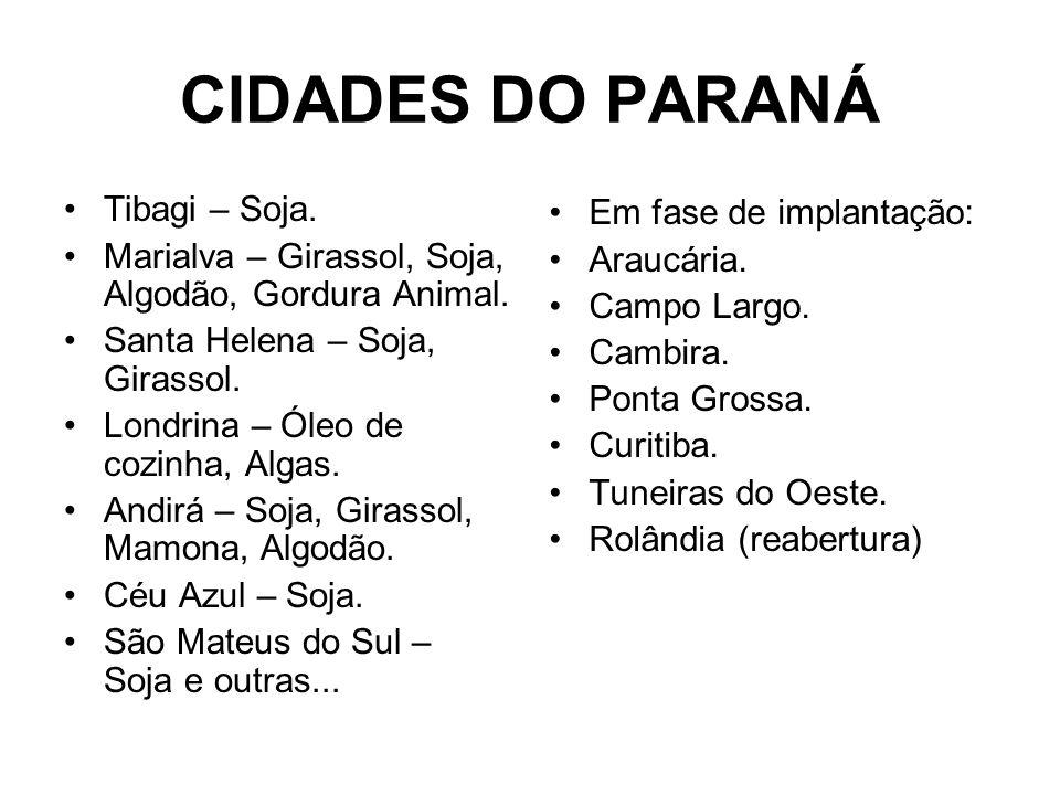 CIDADES DO PARANÁ Tibagi – Soja. Marialva – Girassol, Soja, Algodão, Gordura Animal. Santa Helena – Soja, Girassol. Londrina – Óleo de cozinha, Algas.