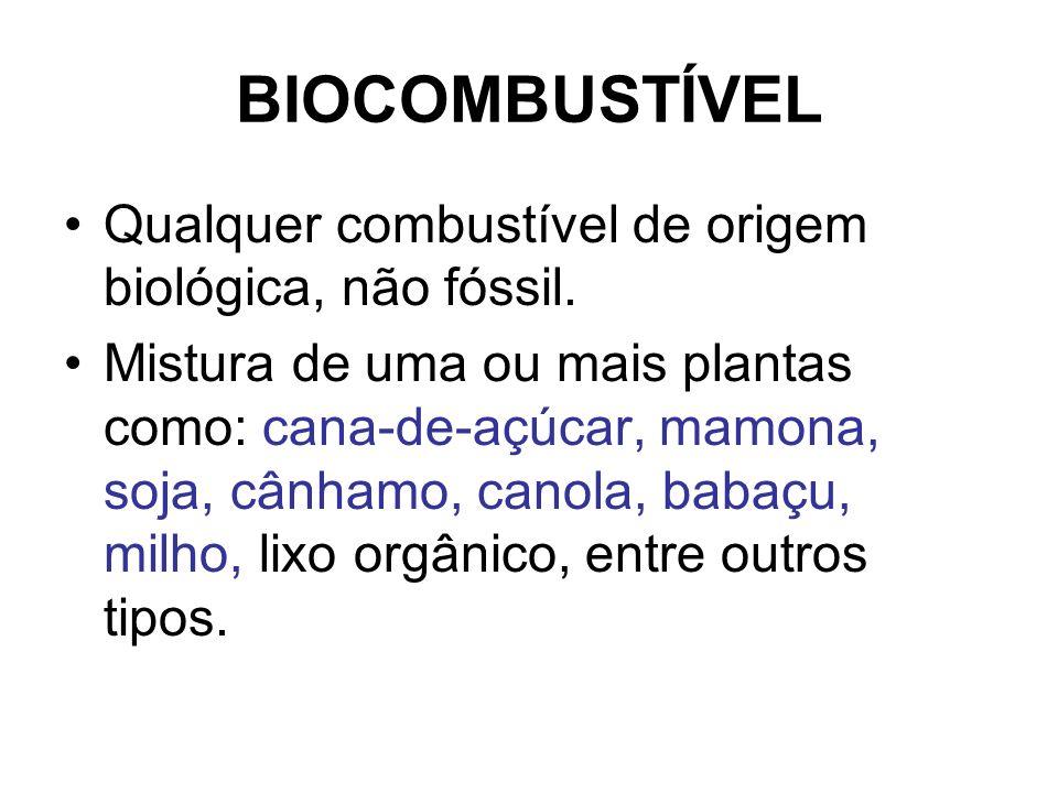 BIOCOMBUSTÍVEL Qualquer combustível de origem biológica, não fóssil. Mistura de uma ou mais plantas como: cana-de-açúcar, mamona, soja, cânhamo, canol