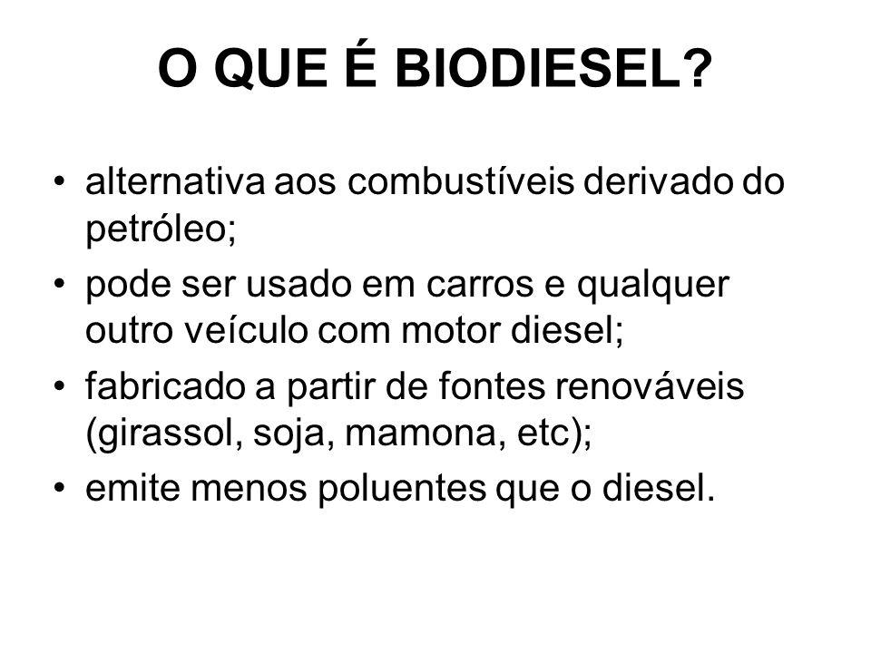 O QUE É BIODIESEL? alternativa aos combustíveis derivado do petróleo; pode ser usado em carros e qualquer outro veículo com motor diesel; fabricado a