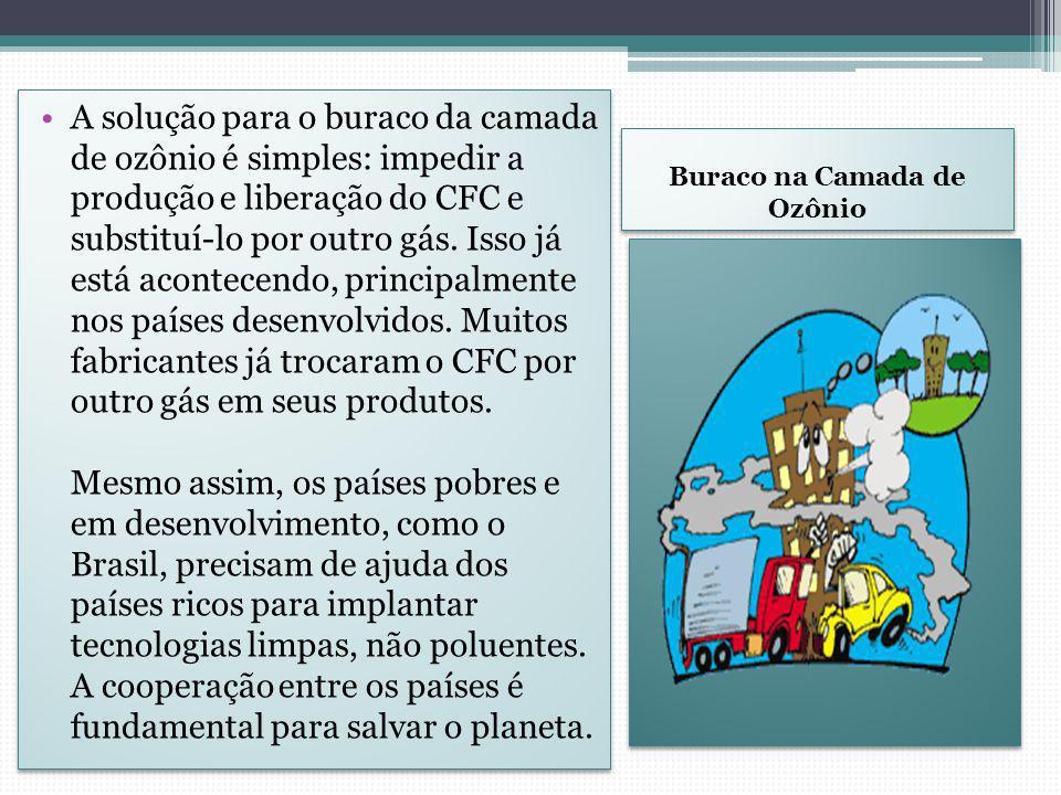 Buraco na Camada de Ozônio A solução para o buraco da camada de ozônio é simples: impedir a produção e liberação do CFC e substituí-lo por outro gás.
