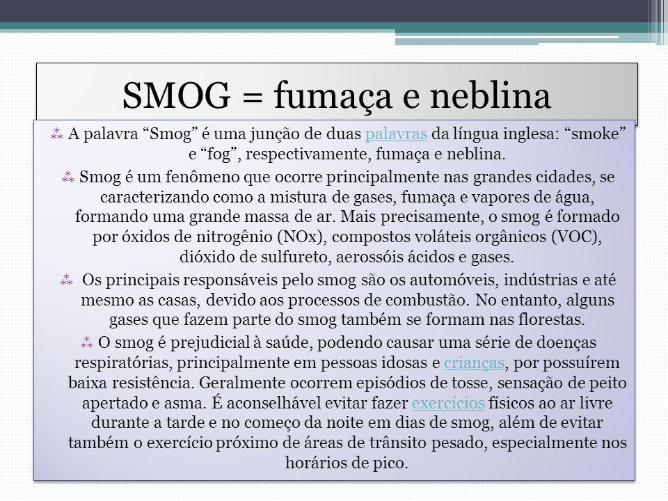 SMOG = fumaça e neblina A palavra Smog é uma junção de duas palavras da língua inglesa: smoke e fog, respectivamente, fumaça e neblina.palavras Smog é um fenômeno que ocorre principalmente nas grandes cidades, se caracterizando como a mistura de gases, fumaça e vapores de água, formando uma grande massa de ar.