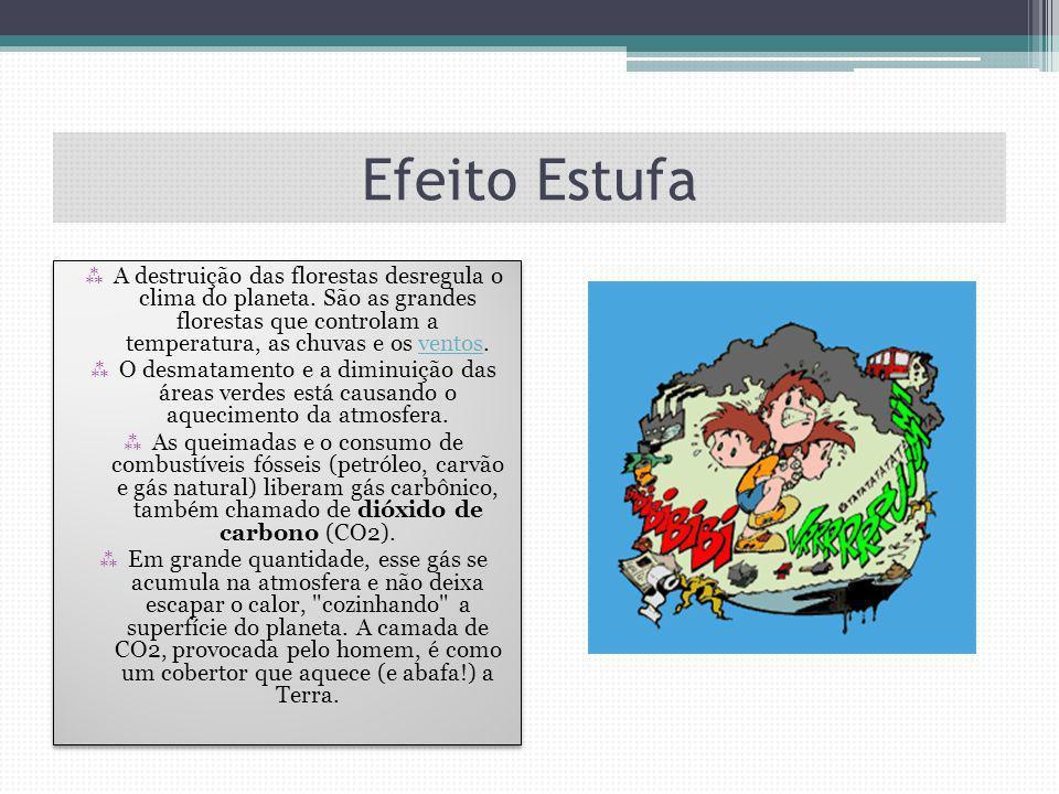 Efeito Estufa A destruição das florestas desregula o clima do planeta. São as grandes florestas que controlam a temperatura, as chuvas e os ventos.ven
