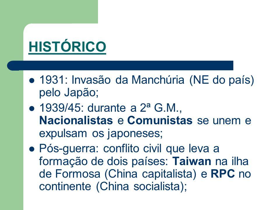 HISTÓRICO 1931: Invasão da Manchúria (NE do país) pelo Japão; 1939/45: durante a 2ª G.M., Nacionalistas e Comunistas se unem e expulsam os japoneses;