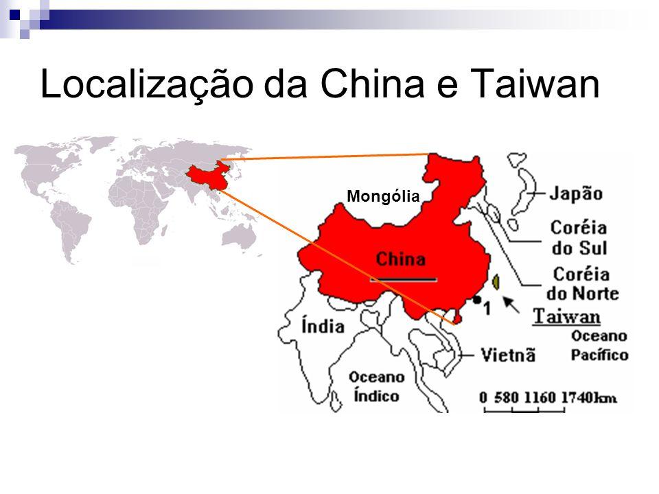 Localização da China e Taiwan Mongólia