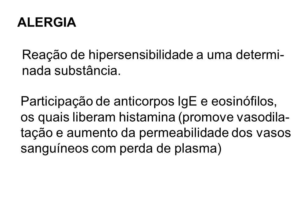 ALERGIA Reação de hipersensibilidade a uma determi- nada substância. Participação de anticorpos IgE e eosinófilos, os quais liberam histamina (promove