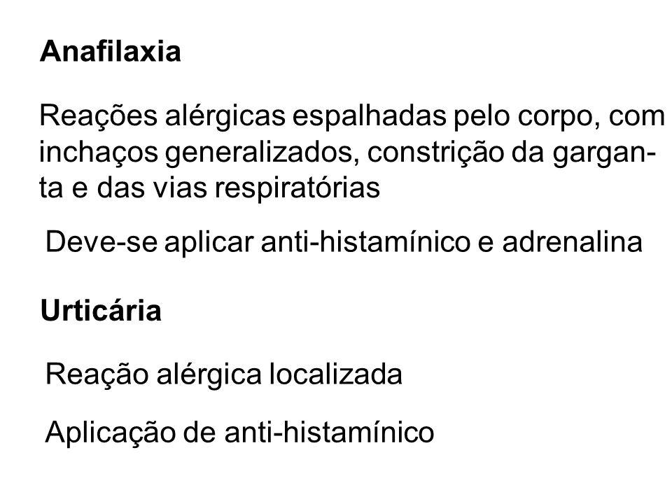 Anafilaxia Reações alérgicas espalhadas pelo corpo, com inchaços generalizados, constrição da gargan- ta e das vias respiratórias Deve-se aplicar anti