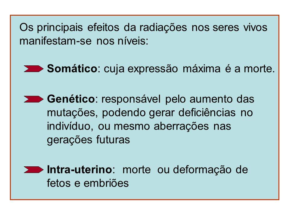 Os principais efeitos da radiações nos seres vivos manifestam-se nos níveis: Somático: cuja expressão máxima é a morte. Genético: responsável pelo aum