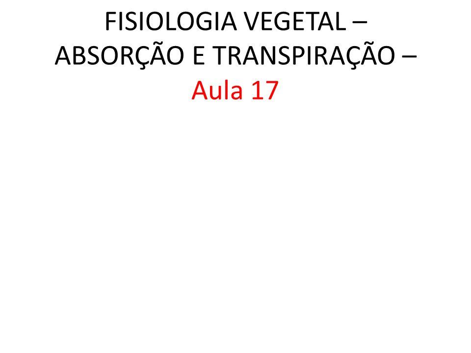 FISIOLOGIA VEGETAL – ABSORÇÃO E TRANSPIRAÇÃO – Aula 17