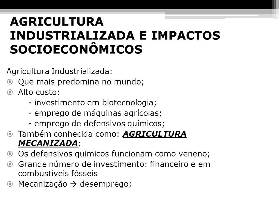 AGRICULTURA INDUSTRIALIZADA E IMPACTOS SOCIOECONÔMICOS Agricultura Industrializada: Que mais predomina no mundo; Alto custo: - investimento em biotecn