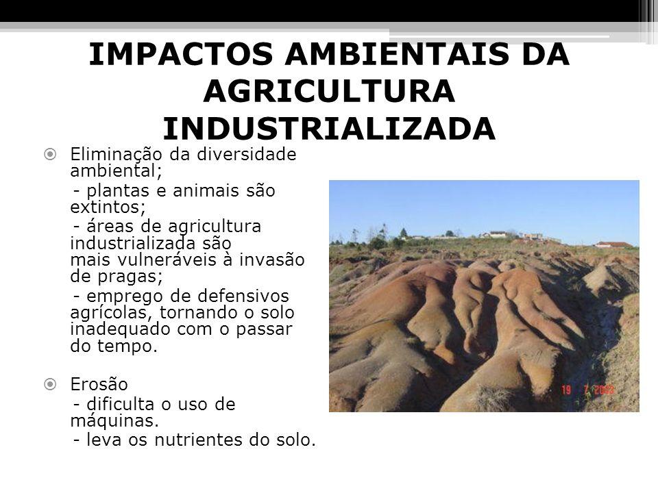 IMPACTOS AMBIENTAIS DA AGRICULTURA INDUSTRIALIZADA Eliminação da diversidade ambiental; - plantas e animais são extintos; - áreas de agricultura indus