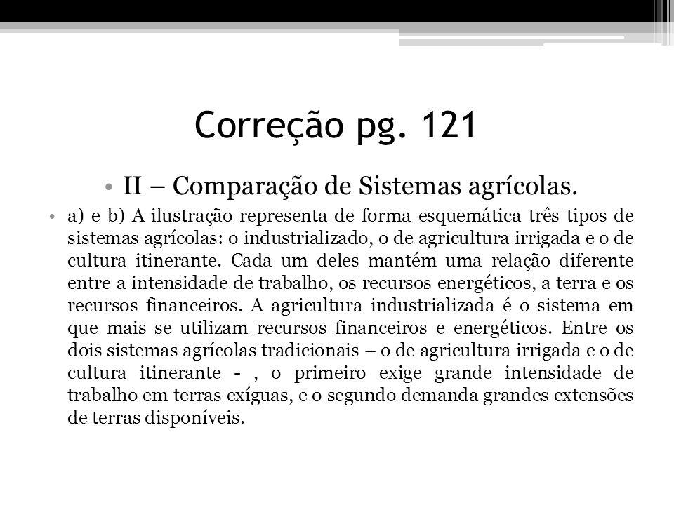 Correção pg. 121 II – Comparação de Sistemas agrícolas. a) e b) A ilustração representa de forma esquemática três tipos de sistemas agrícolas: o indus