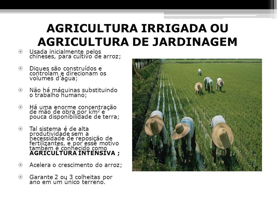 AGRICULTURA IRRIGADA OU AGRICULTURA DE JARDINAGEM Usada inicialmente pelos chineses, para cultivo de arroz; Diques são construídos e controlam e direc
