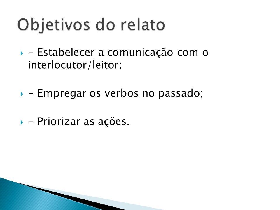 - Estabelecer a comunicação com o interlocutor/leitor; - Empregar os verbos no passado; - Priorizar as ações.