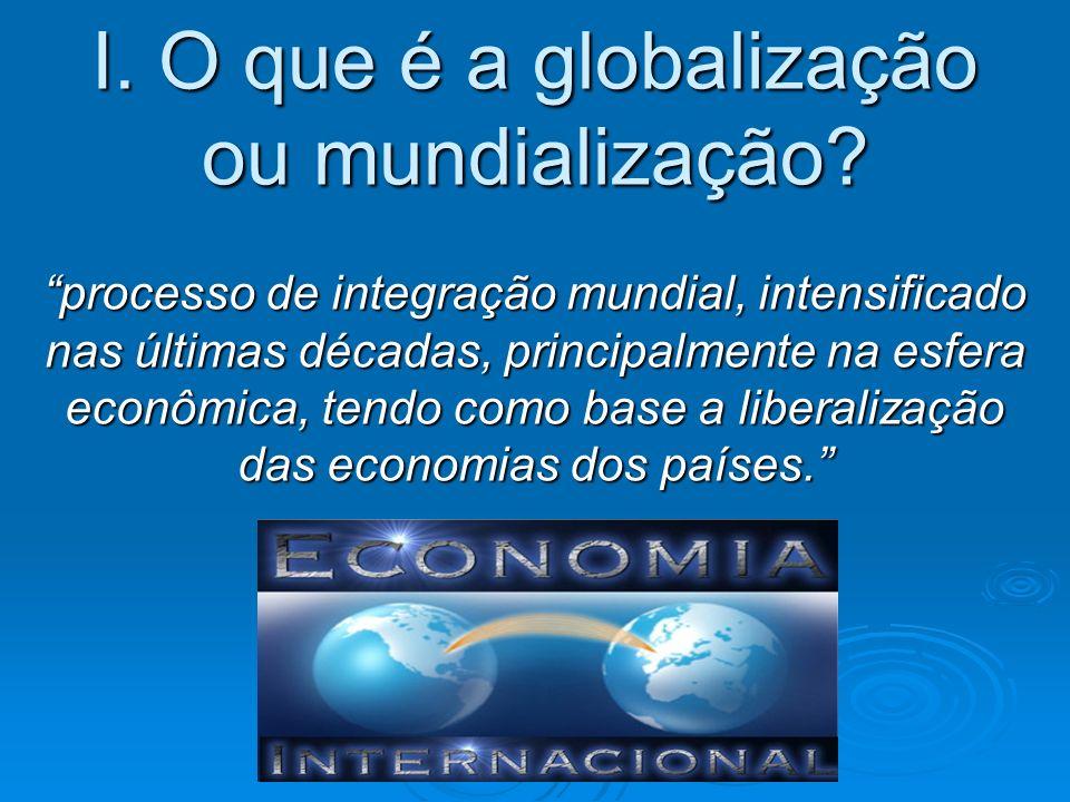 I. O que é a globalização ou mundialização? II. Características do processo. III. Etapas da globalização? IV. Efeitos colaterais: a perversidade