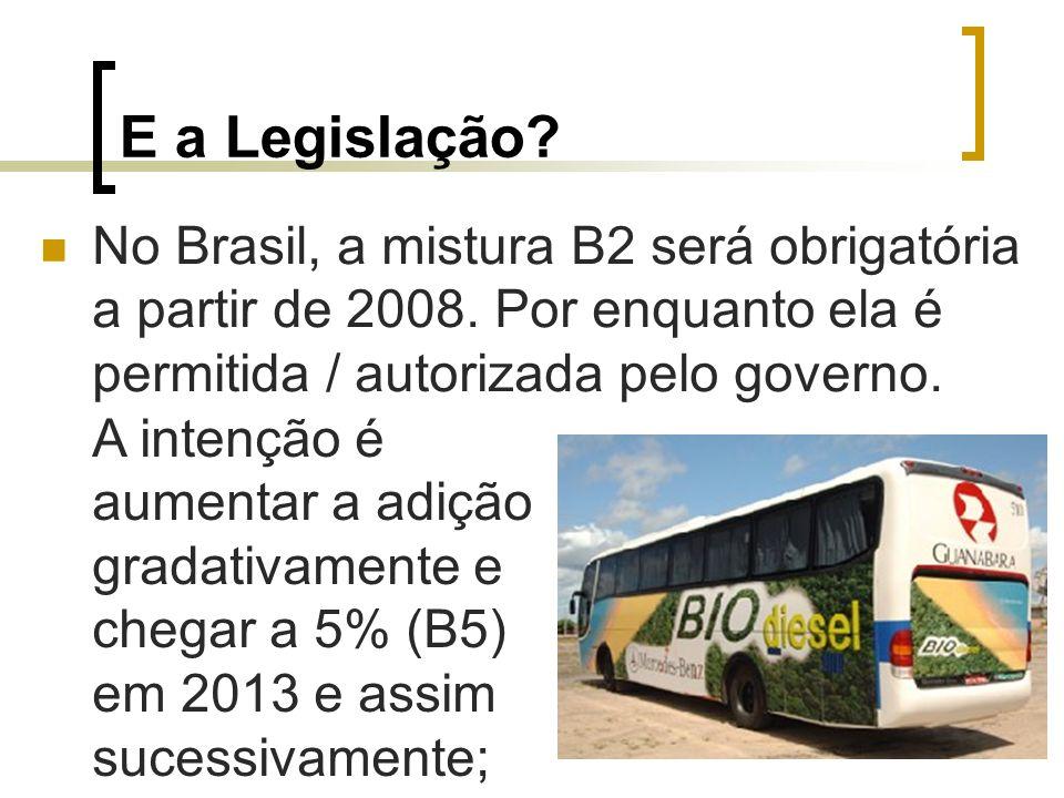 E a Legislação? No Brasil, a mistura B2 será obrigatória a partir de 2008. Por enquanto ela é permitida / autorizada pelo governo. A intenção é aument