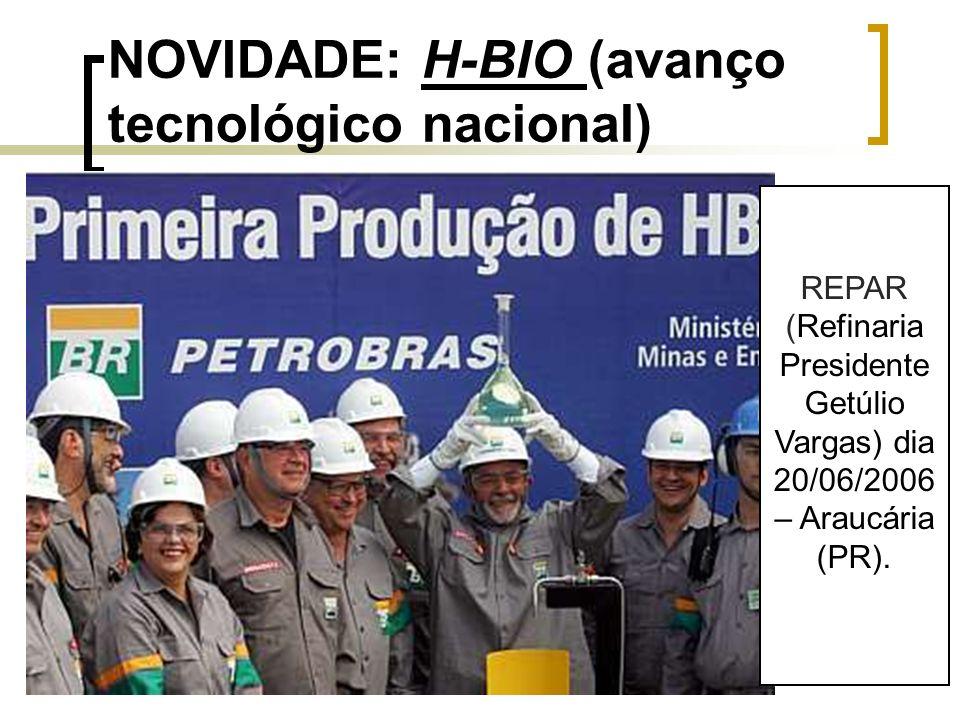 NOVIDADE: H-BIO (avanço tecnológico nacional) REPAR (Refinaria Presidente Getúlio Vargas) dia 20/06/2006 – Araucária (PR).