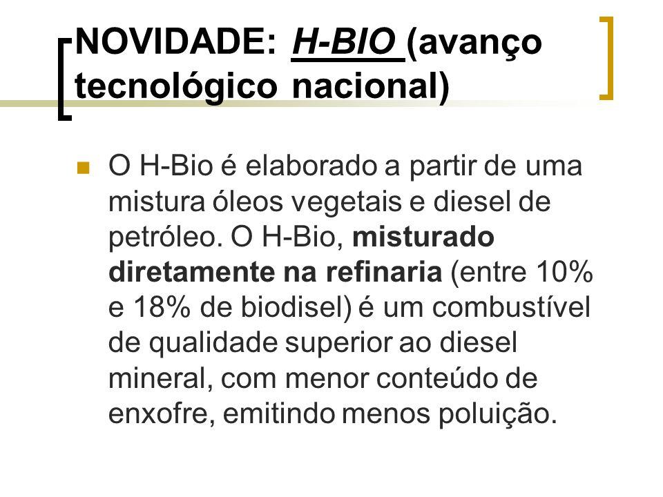 NOVIDADE: H-BIO (avanço tecnológico nacional) O H-Bio é elaborado a partir de uma mistura óleos vegetais e diesel de petróleo. O H-Bio, misturado dire