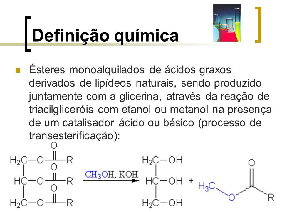 Definição química Ésteres monoalquilados de ácidos graxos derivados de lipídeos naturais, sendo produzido juntamente com a glicerina, através da reaçã