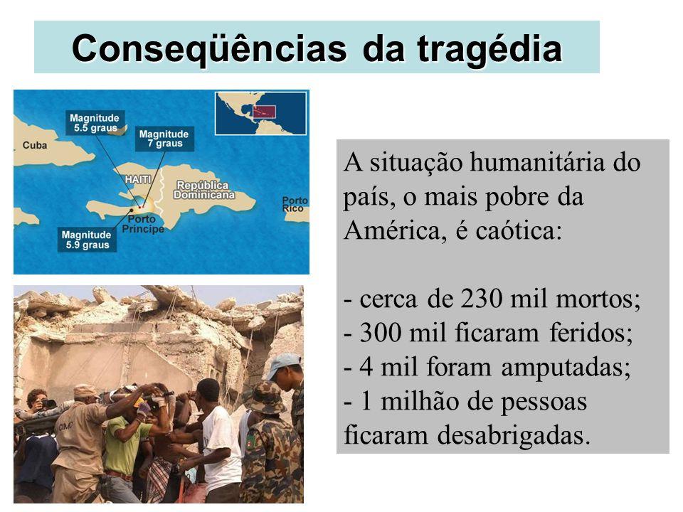Conseqüências da tragédia A situação humanitária do país, o mais pobre da América, é caótica: - cerca de 230 mil mortos; - 300 mil ficaram feridos; -