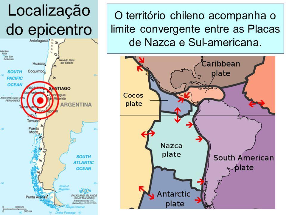 O território chileno acompanha o limite convergente entre as Placas de Nazca e Sul-americana. Localização do epicentro
