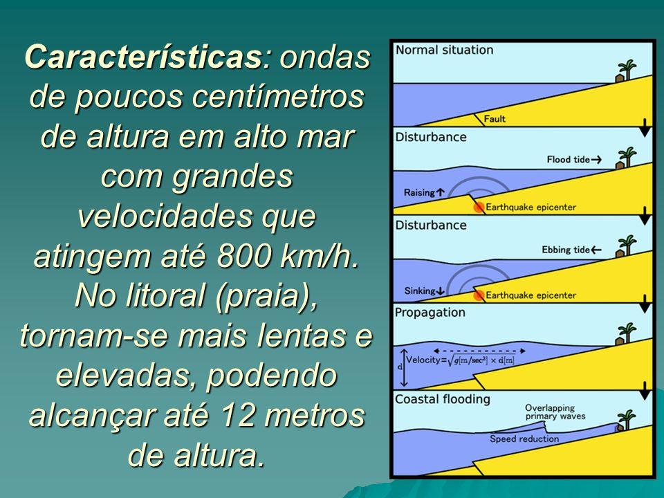 Características: ondas de poucos centímetros de altura em alto mar com grandes velocidades que atingem até 800 km/h. No litoral (praia), tornam-se mai