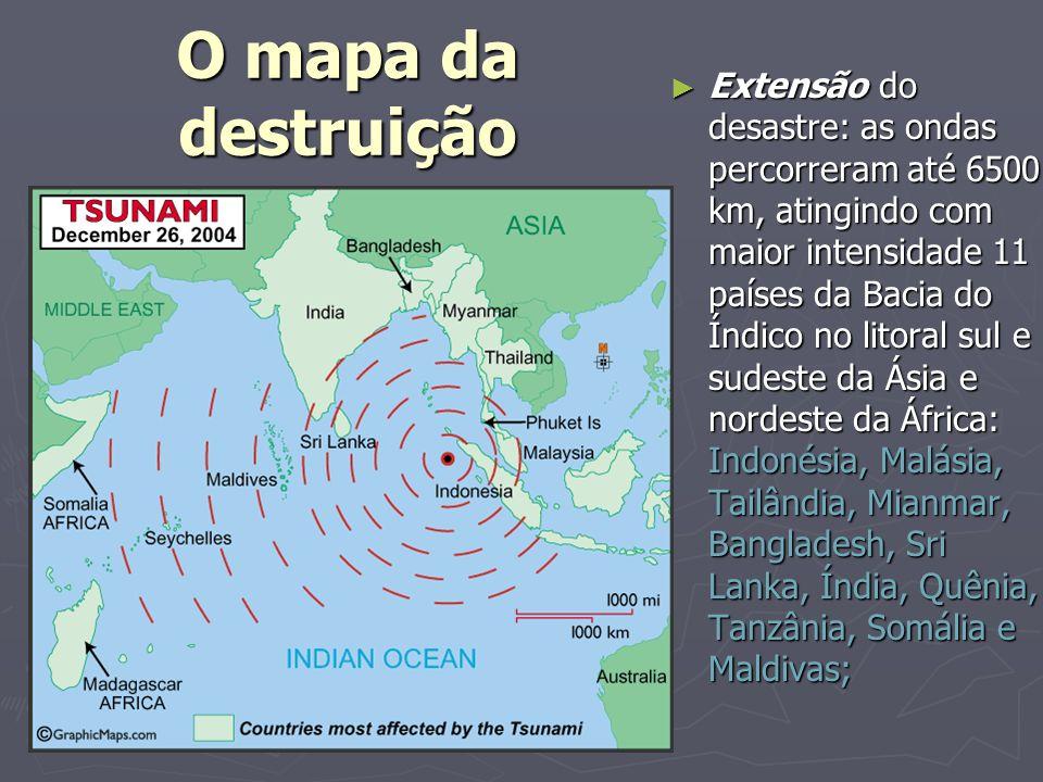 Extensão do desastre: as ondas percorreram até 6500 km, atingindo com maior intensidade 11 países da Bacia do Índico no litoral sul e sudeste da Ásia